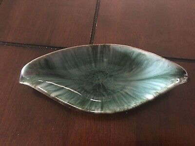 VINTAGE Blue Mountain Pottery Oblong Candy Dish Green Glaze FREE SHIPPING