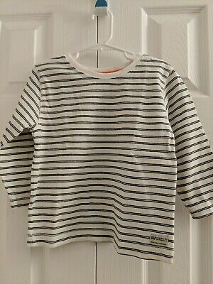 Baby Gap Toddler Boys Off White Black Striped Long Sleeve Shirt Size 3 Years