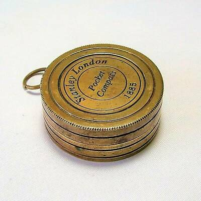 Antique Stanley Of London Brass Pocket Sundial & Compass, In Good Working Order.