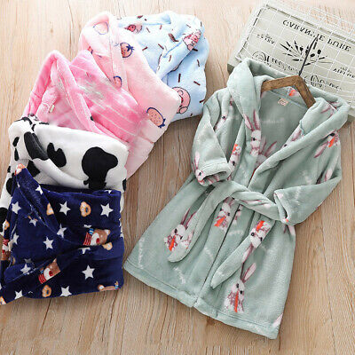 Toddler Kids Boy Girl Winter Warm Hooded Flannel Bathrobe Night-Gown Sleepwear