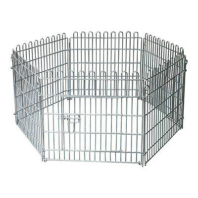 6 Panels Outdoor Sided Pet Puppy Dog Silver Metal Playpen Cage Run Folding