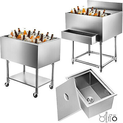 Drop In Ice Chest Bin 7 Sizes Insulated Wall Cold Drinks Cooler Stainless Steel