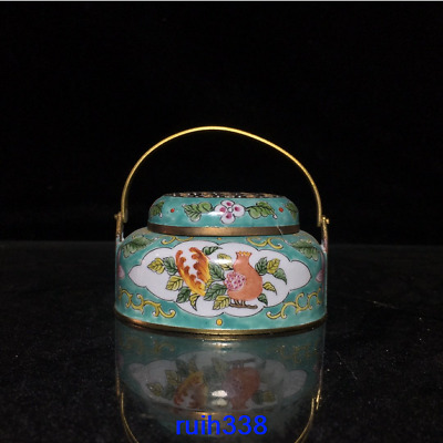 "2.8""Collection Asia China old antique Qian long year bronze Cloisonne Handwarmer"