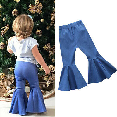 Casual Toddler Kids Baby Girls Solid Denim Jeans Long Flare Pant Trouser Clothes