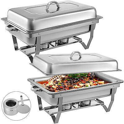 2 X Single Chafing Dish Sets Buffet Catering W/Tray Folding Chafer Food Warmer