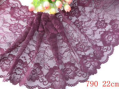 """8.5""""*1yard delicate Wine red  Elastic/Spandex Soft Flower Floral lace trim 790"""