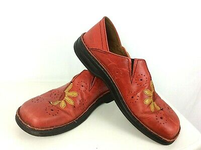 Womens Josef Seibel Floral Red Leather Shoes - Size EU 40 / UK 6.5