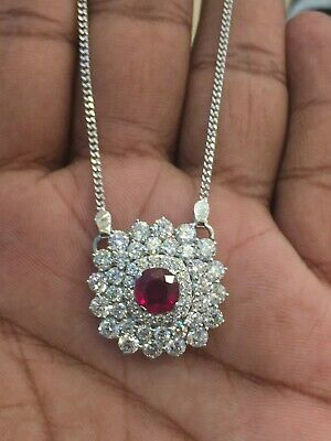 6.86 TCW Round Brilliant Cut Diamonds Ruby Chain Pendant In 585 Stamped 14K Gold