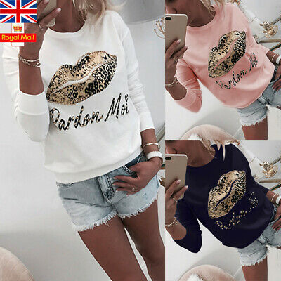 Women Sequin Leopard Lip Print T-Shirt Top Long Sleeve Casual Blouse Pullover