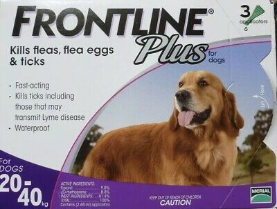 Frontline Plus for Large DOGS 45-88lbs (20-40kg) 3 Month Supply ~ New, Fresh