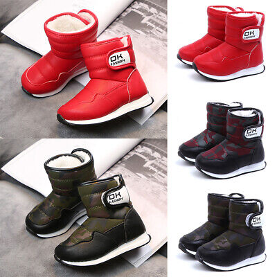 Kids Baby Boys Girls Winter Warm Fur Snow Boots Children Trainers Shoes Size