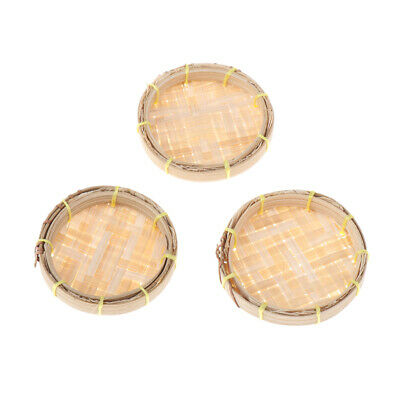 3pcs 1/12 Dollhouse Miniature Bamboo Sieve Kitchen Bedroom Garden Ornament