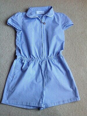 NEXT Girls Blue and White Gingham School Playsuit Age 5 Years