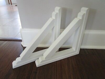 "Set of 2 Wooden Corbels Shelf Brackets  White 11"" x 11"" x 1.5"" Modern Farmhouse"