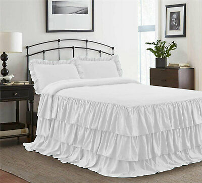 """Dust Ruffle Bed Skirt//Bed Cover 20/"""" drop 800 TC Egyptian Cotton ALL SIZE /&COLOR"""