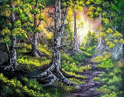 Original Signed Forest Oil Painting 24x30 Canvas Bob Ross Paint & Technique