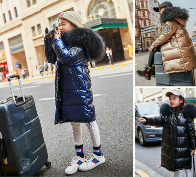 Winter Kids Girls Boys Fur Hooded Long Down Jackets Outwear Hoodies Coats Parka