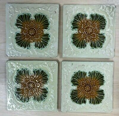 Antique Victorian Wall Fireplace Tiles - Art Nouveau x 8 - Floral Cream Majolica