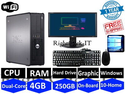 Dell/Hp Dual Core Desktop Sff Pc Computer Bundle Windows 10,4Gb,250Gb