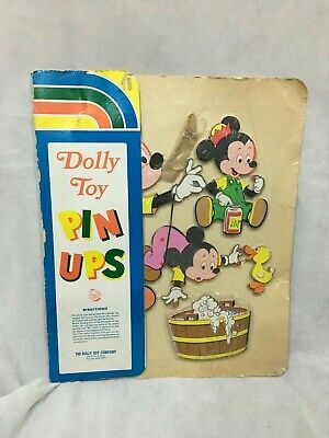 Vintage 1970s Disney Mickey Mouse Bath Time Pin Up Wall Plaque Dolly Toy Co