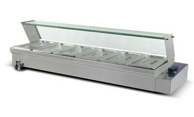 New 6 X 1/3' Pan Stainless Steel Electic Bain Marie Trays+Polycarb Cover Instock