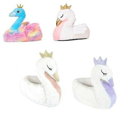 Swan Slippers Womens Girls 3D Novelty Slippers Cushioned Insole UK 3-8