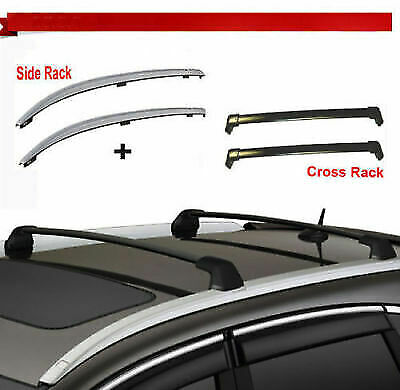 For 12-16 Honda CRV Roof Rack Side Rail+Cross Bars Silver Fit OE Factory Hole