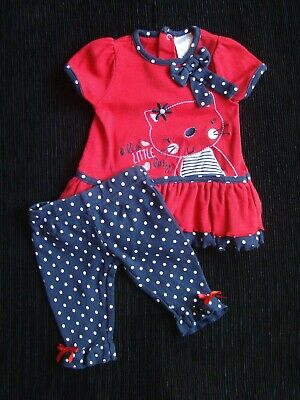 Baby clothes GIRL newborn 0-1m red,navy,white spots outfit dress/leggings cat