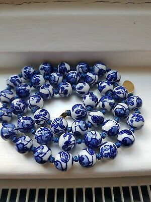 Vintage Chinese blue and white hand painted porcelain Bead Necklace