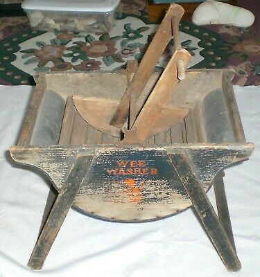 Very Nice Antique Wooden Salesman Sample/Toy Wee Washer
