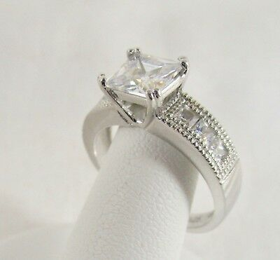 Diamonique CZ Epiphany Sterling Silver 1ct Princess Solitaire w/accents RING Sz8