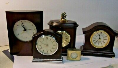 Lot of 5 Quartz Clocks - 3 are BOMBAY CLOCK CO - one with Elephant Top