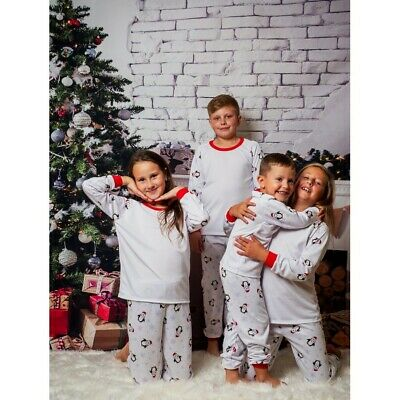 Xmas Penguin Christmas Children Kids Baby 100% Cotton Pjs Girls Boys Santa