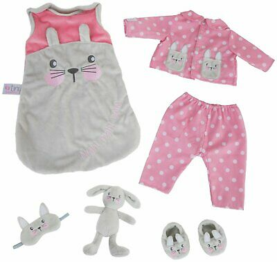 Chad Valley Tiny Treasures Sleeptime Bunny Pyjamas Outfit For Dolls Sized 44Cm