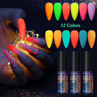 NAIL VISION 5ml Matte Pure Luminous UV Glow In The Dark Gel Nail Polish Varnish