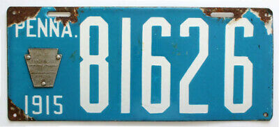 Pennsylvania 1915 Porcelain License Plate, 81626, Antique, Sign