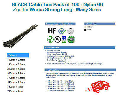 BLACK Cable Ties Pack of 100 - Nylon 66 Zip Tie Wraps Strong Long - Many Sizes