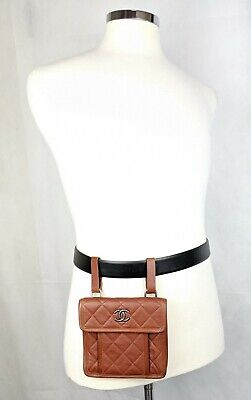 100% Authentic CHANEL Caviar Leather Quilted Belt Bag Fanny Pack Flap CC NEW