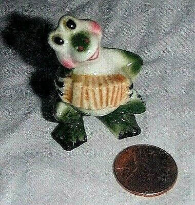 Rare Miniature Tiny Vintage Frog Playing The Accordion Porcelain