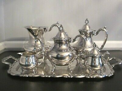 Vintage Wm Rogers Silverplate 6 pc Set Tea Coffee Water Pot Creamer Sugar & Tray