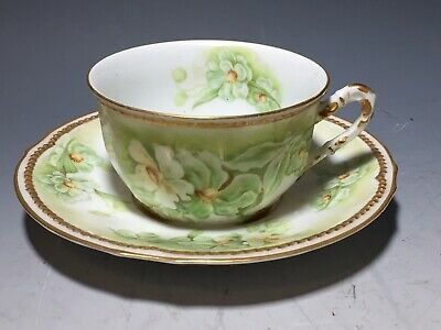 LIMOGES FRANCE Elite SM Tea Cup & Saucer Green with Flowers Trimmed in Gold