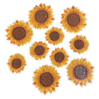 5Pcs Sunflower Sew on/Iron on Embroidered Patch Diy Craft Clothes Applique HU