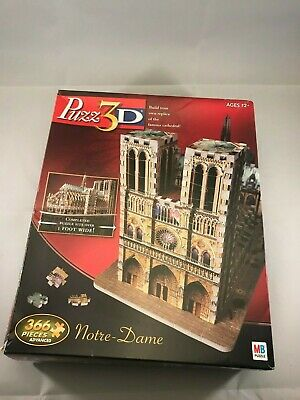 Puzz 3d Notre Dame Cathedral Milton Bradley puzzle Excellent Condition