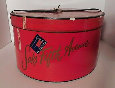 Vtg. Saks Fifth Avenue Heavy Duty Red Hat Box with Strap RARE