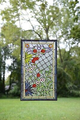 "20"" x 34"" Lg Decorative Handcrafted Jeweled stained glass window panel flower"
