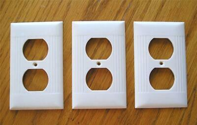 3 Vintage Sierra Ribbed Duplex Wall Outlet Covers & Matching Screws Ivory Color