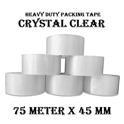 36 x Crystal Clear Sticky Packing Packaging Tape  75meter x 48mm (45U),Brand new