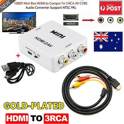 1.5m HDMI Male to 3 RCA S-Video Audio Converter Component AV Adapter CVBS Cable
