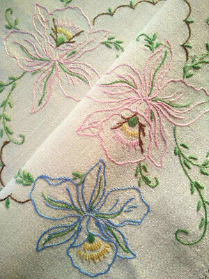 Gorgeous Pink/Blue Orchid Flowers   Vintage Hand Embroidered Centrepiece