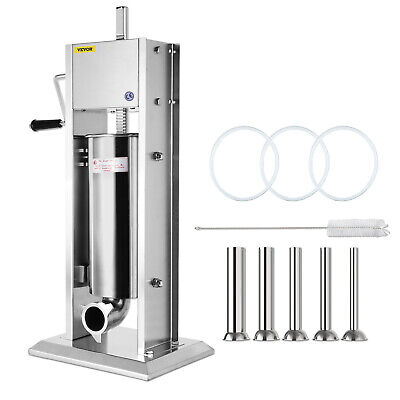 5L Sausage Stuffer Filler Maker Meat Machine Slow/Fast Vertical 5 Stuffing Tubes